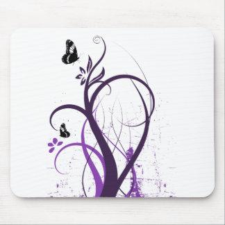 グランジな渦巻の蝶2 -紫色 マウスパッド