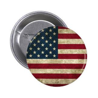 グランジな米国の旗 5.7CM 丸型バッジ