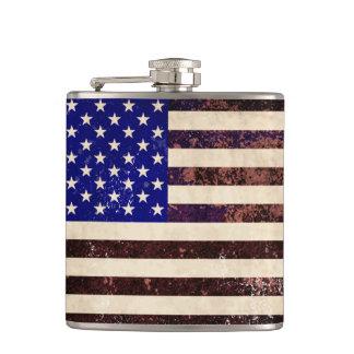 グランジな米国旗のヴィンテージ フラスク