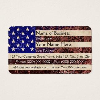 グランジな米国旗のヴィンテージ 名刺