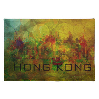 グランジな背景Illustの香港都市スカイライン ランチョンマット