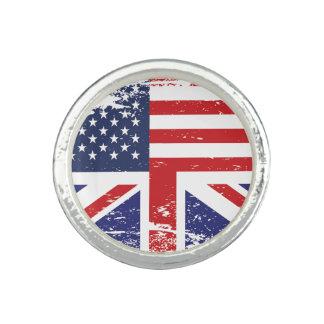 グランジな英国の米国旗3 指輪