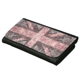 グランジな英国国旗のイギリスの旗-グランジなコンクリート レザーウォレット