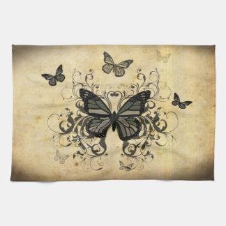グランジな蝶 キッチンタオル