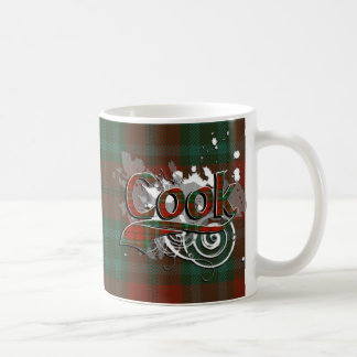 グランジな調理師のタータンチェック コーヒーマグカップ