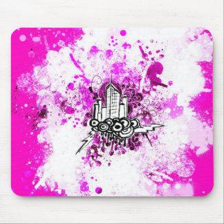 グランジな都市(ピンクの)マウスパッド マウスパッド