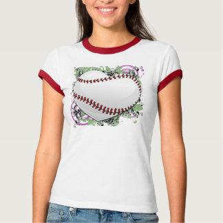 グランジな野球のハート Tシャツ