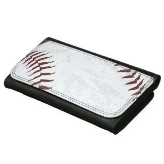 グランジな野球の球の赤いステッチ レザーウォレット