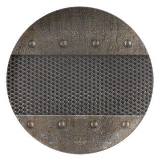 グランジな金属の背景 プレート
