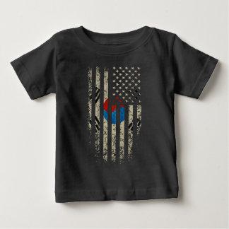 グランジな韓国系アメリカ人の旗 ベビーTシャツ