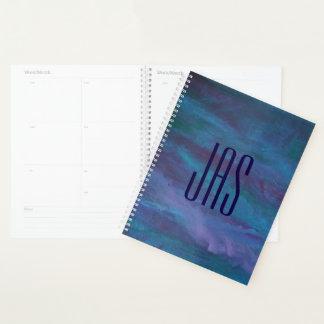 グランジな|のターコイズのティール(緑がかった色)の青いすみれ色の紫色 プランナー手帳