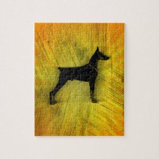 グランジな(犬)ドーベルマン・ピンシェルのシルエット ジグソーパズル
