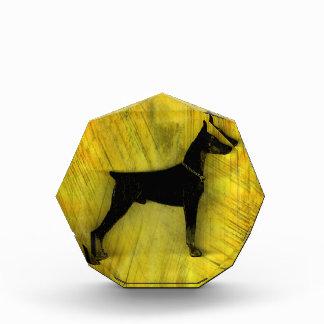 グランジな(犬)ドーベルマン・ピンシェルのシルエット 表彰盾