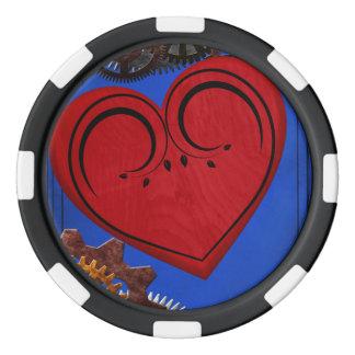 グランジなSteampunkの時計およびギアのハート ポーカーチップ