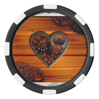 グランジなSteampunkの時計およびギアはハート箱を調整します ポーカーチップ