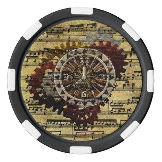 グランジなSteampunkの時計およびギア ポーカーチップ