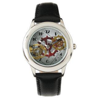 グランジなSteampunkの時計およびギア 腕時計