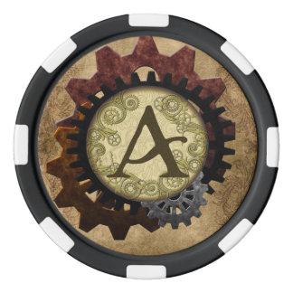 グランジなSteampunkはモノグラムの手紙Aを連動させます ポーカーチップ