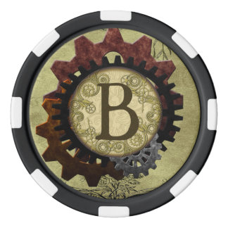 グランジなSteampunkはモノグラムの手紙Bを連動させます ポーカーチップ