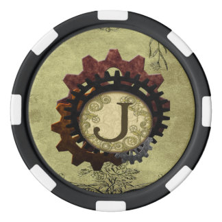 グランジなSteampunkはモノグラムの手紙Jを連動させます ポーカーチップ