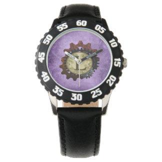 グランジなSteampunkはモノグラムの手紙Lを連動させます 腕時計