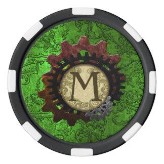 グランジなSteampunkはモノグラムの手紙Mを連動させます ポーカーチップ