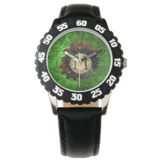 グランジなSteampunkはモノグラムの手紙Mを連動させます 腕時計