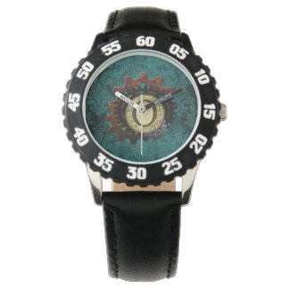 グランジなSteampunkはモノグラムの手紙Oを連動させます 腕時計