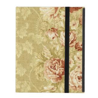 、グランジのヴィンテージ、ダマスク織、壁紙、パターン、a花 iPad ケース