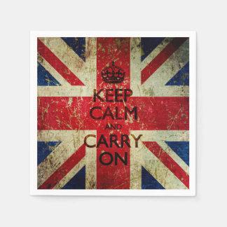 グランジ穏やか保ち、英国国旗続けていって下さい スタンダードカクテルナプキン