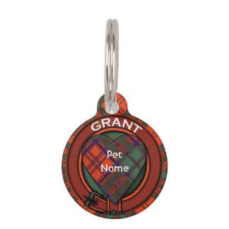 グラントの一族の格子縞のスコットランド人のタータンチェック ペット ネームタグ