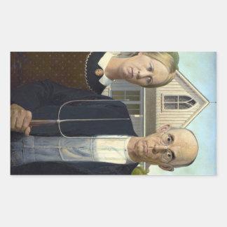 グラント・ウッド著アメリカのゴシック様式絵画 長方形シール