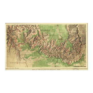 グランドキャニオンの国立公園アリゾナの1926地図 キャンバスプリント
