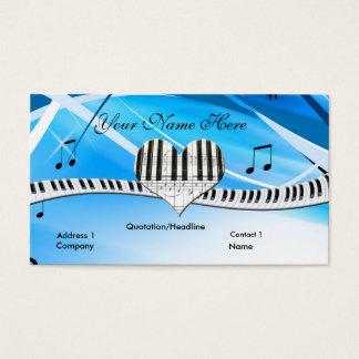 グランドピアノのハートおよびキーボードの名刺 名刺