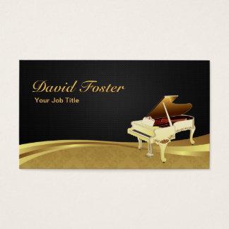 グランドピアノのピアニストのエレガントで黒い金ゴールドのダマスク織 名刺