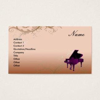 グランドピアノの名刺の装飾的な花柄 名刺