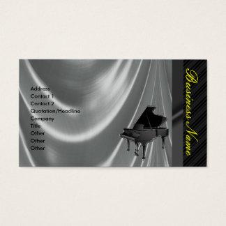 グランドピアノの銀のサテンのエレガントな名刺 名刺