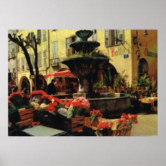 グラースの市場、フルーツおよび噴水 ポスター