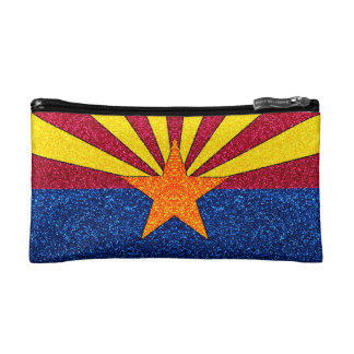 グリッターのアリゾナの旗の小さい化粧品のバッグ コスメティックバッグ