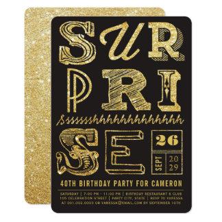 グリッターのアールデコのびっくりパーティの誕生日の招待 カード