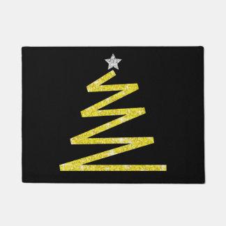 グリッターのクリスマスツリー ドアマット