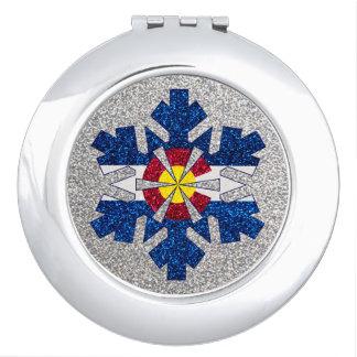 グリッターのコロラド州の旗の雪片の円形の鏡