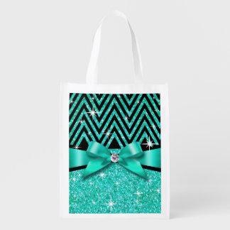 グリッターのシェブロンのきらきら光るなダイヤモンドの弓|ティール(緑がかった色) エコバッグ