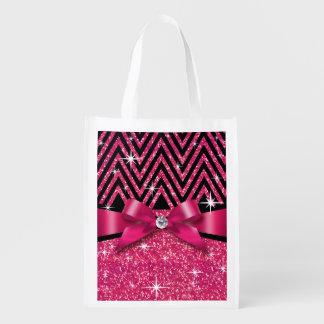 グリッターのシェブロンのきらきら光るなダイヤモンドの弓|明るい赤紫色 エコバッグ