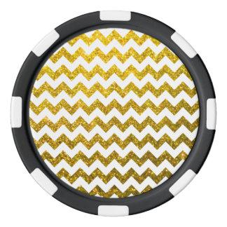 グリッターのシェブロンのイエロー・ゴールド ポーカーチップ