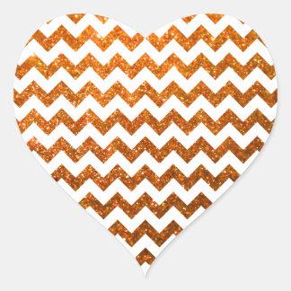 グリッターのシェブロンのオレンジ ハートシール