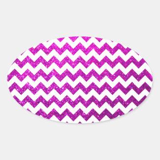 グリッターのシェブロンのピンク 楕円形シール