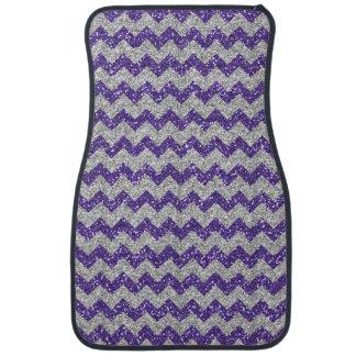 グリッターのシェブロン模造のな銀製のパターン紫色のグリッター カーマット