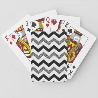 グリッターのシェブロン白いカード(標準的な索引の顔) トランプ