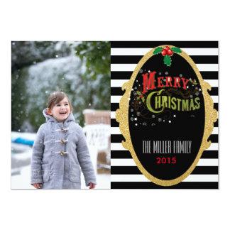 グリッターのストライプのなクリスマスの写真カード 12.7 X 17.8 インビテーションカード